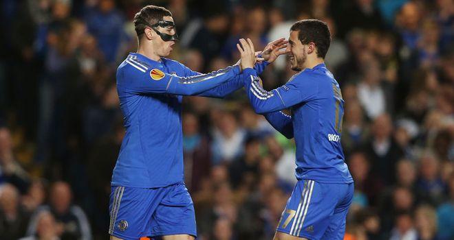 Fernando Torres: Celebrates Chelsea goal with Eden Hazard