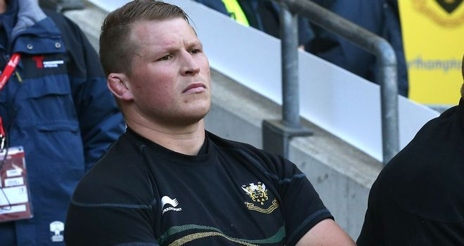 Dylan Hartley watches from the bench after his sending off