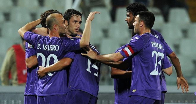 Fiorentina celebrate their second goal in a rout