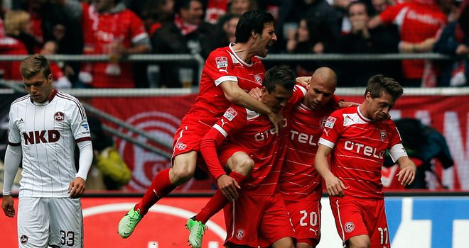 Fortuna Dusseldorf celebrate after taking the lead