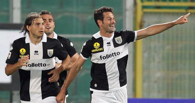 Massimo Gobbi (right) celebrates his opening goal