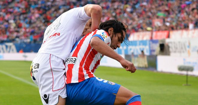 Radamel Falcao protects the ball