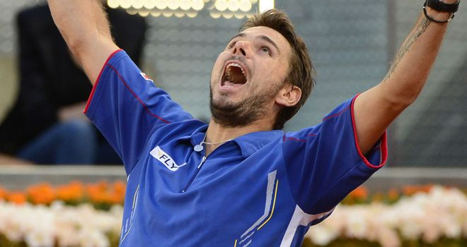Stanislas Wawrinka: Celebrates after reaching Madrid Masters final