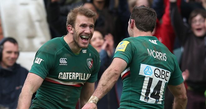 Tom Croft celebrates his try against Harlequins