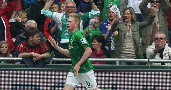 Kevin de Bruyne celebrates his opener for Bremen