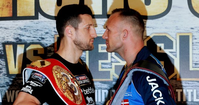 Fight Night: Carl Froch and Mikkel Kessler square up after Wednesday's press conference