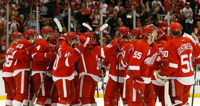 Detroit Red Wings celebrate beating the Chicago Blackhawks