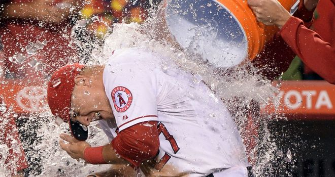 Mike Trout is soaked after hitting for the cycle
