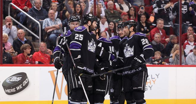 Los Angeles Kings celebrate their 4-2 series victory over the St Louis Blues