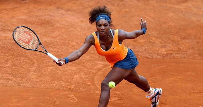 Serena Williams: In action against Dominika Cibulkova of Slovakia in Rome