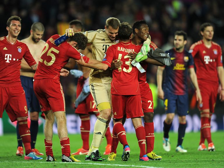 Bayern Munich celebrate their 7-0 aggregate win over Barcelona