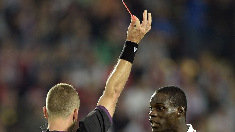 Mario Balotelli: Sent off against Czech Republic on Friday night