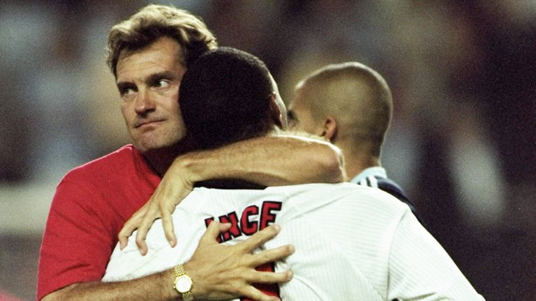 Glenn Hoddle hugs Paul Ince on an emotional night for England