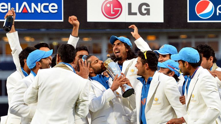 India celebrate winning the 2013 ICC Champions Trophy at Edgbaston