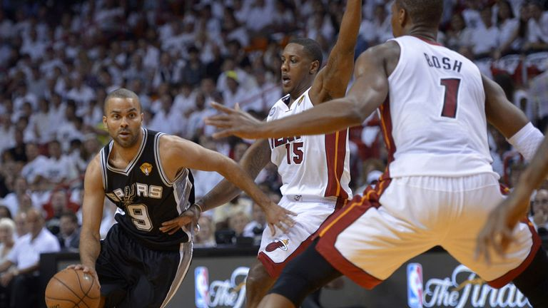 Tony Parker (L): Insists the Spurs are 'having fun' despite huge pressure of NBA Finals