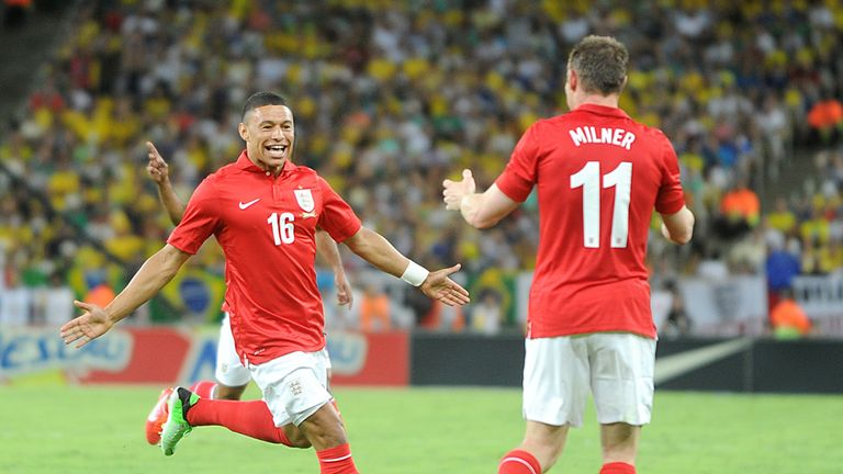 Alex Oxlade Chamberlain: England midfielder celebrates his goal in Brazil