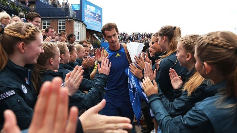 Andy Murray takes the plaudits after the second of two wins on Thursday