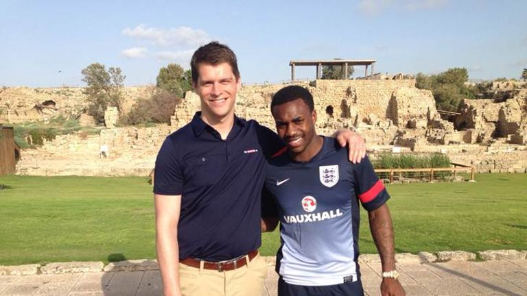 Reporter Pat Davison welcomes Danny Rose in Caesarea Harbour