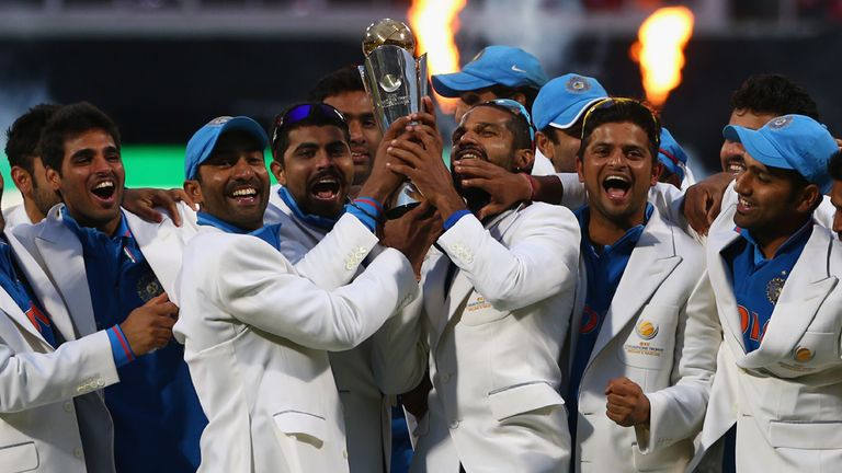 India celebrate their success in the 2013 Champions Trophy after edging out England by five runs in the final