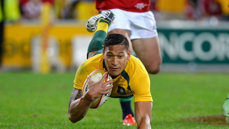 Folau touches down for one of his two tries