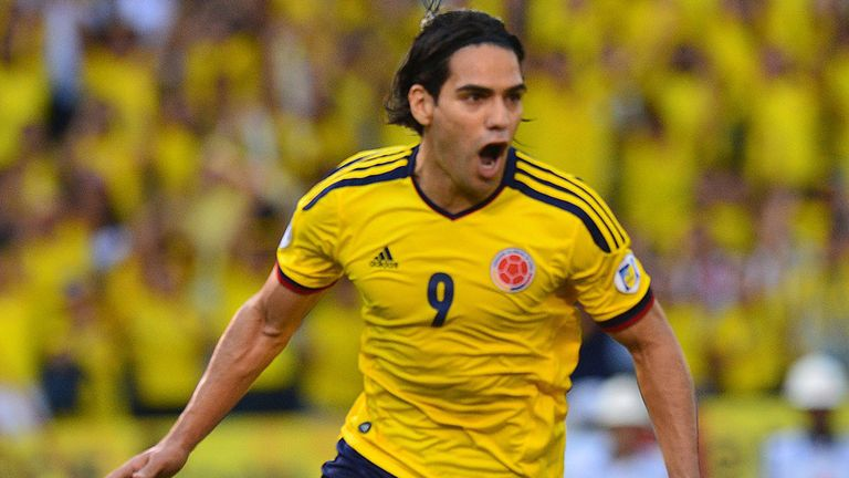 Radamel Falcao: Celebrates his goal for Colombia