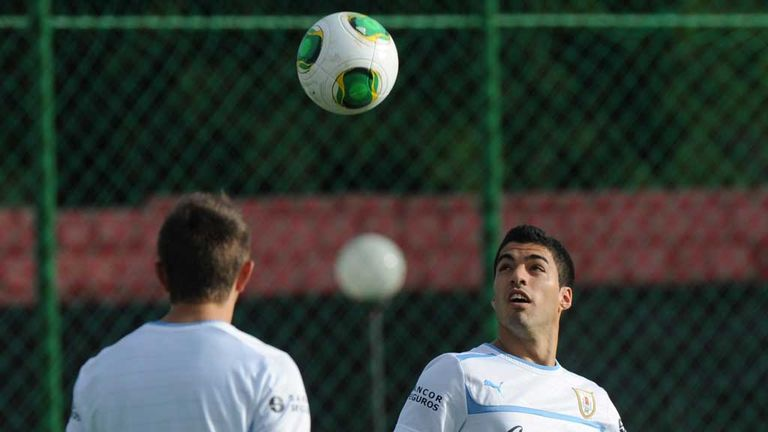 Luis Suarez: Uruguay striker trains in Recife ahead of Spain clash
