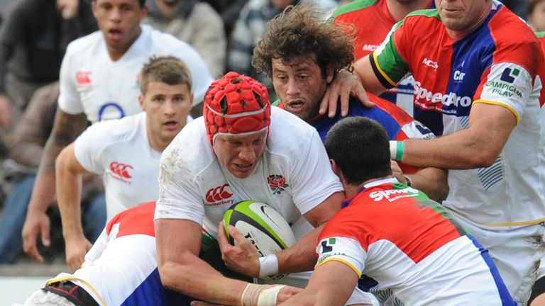 Tom Johnson: Exeter flanker in action for England