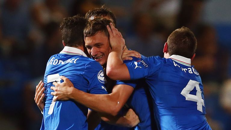 Manolo Gabbiadini: Celebrates after scoring Italy's third goal in the 4-0 win over Israel