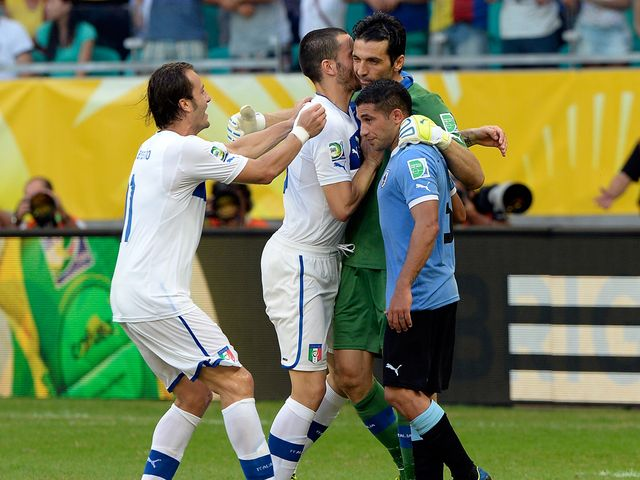 Italy and Buffon celebrate their win