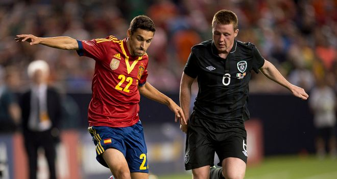 Jesus Navas and James McCarthy: Tussle for the ball in New York
