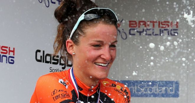 Lizzie Armitstead celebrates her second place in the British National Time Trial Championships in Scotland on Thursday
