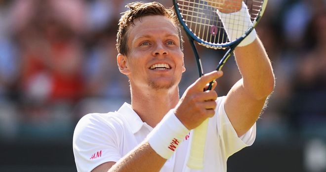 Tomas Berdych celebrates after a tough test on Court No 1