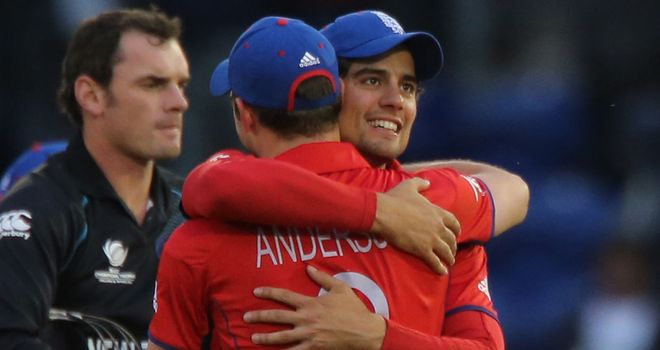 Alastair Cook: Celebrates with James Anderson as England clinch victory over New Zealand