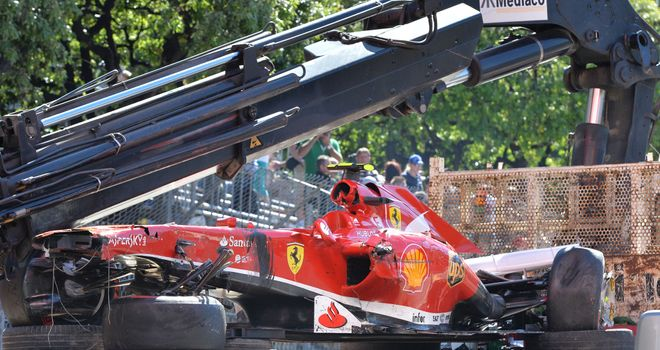 New car: Felipe Massa's Ferrari crashed in Monaco