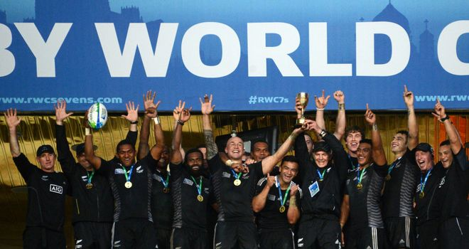 New Zealand celebrate their Rugby World Cup Sevens triumph