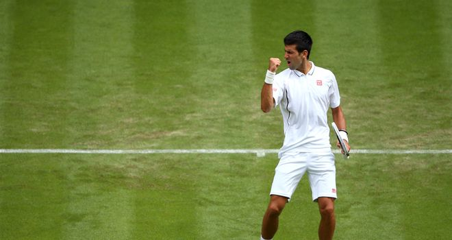 Novak Djokovic: Serb celebrates during first-round win