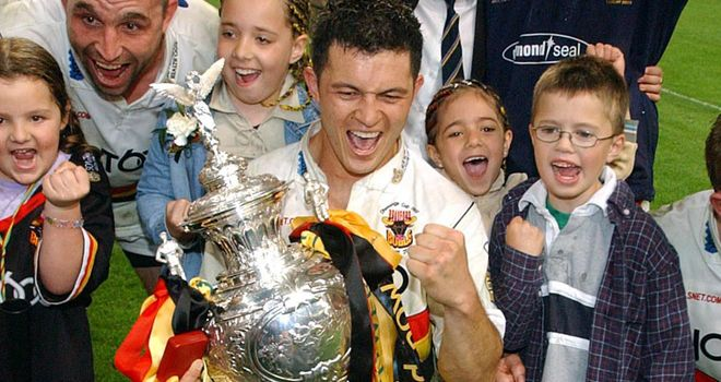 Robbie Hunter-Paul celebrates Bradford's 2003 Challenge Cup win