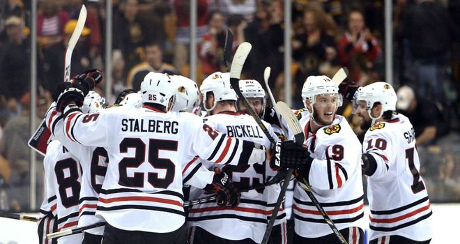 Chicago Blackhawks celebrate winning Game Four