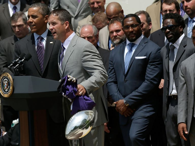 John Harbaugh addresses the crowd in Washington