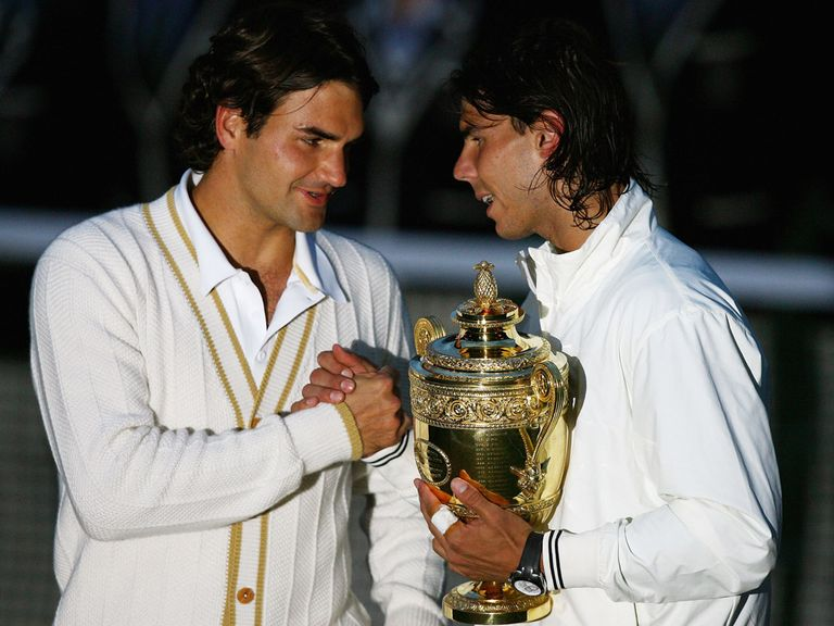 Nadal (r) beat Federer in an all-time classic at Wimbledon in 2008