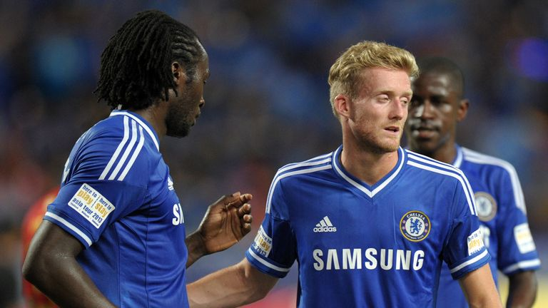 Romelu Lukaku (l): Congratulated on his goal by Andre Schurrle