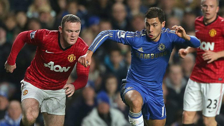Eden Hazard: Tracked by Wayne Rooney during last season's Premier League meeting at Stamford Bridge