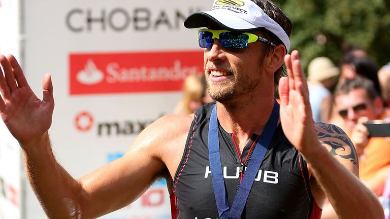 Jenson Button competing in a recent triathon event