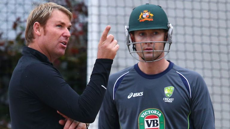 "Shane Warne, pictured with Australia captain Michael Clarke, has accused England of being ""arrogant"""