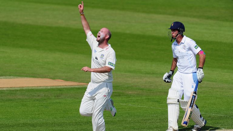 Chris Rushworth: Durham seamer celebrates the wicket of Derbyshire opener Richard Johnson