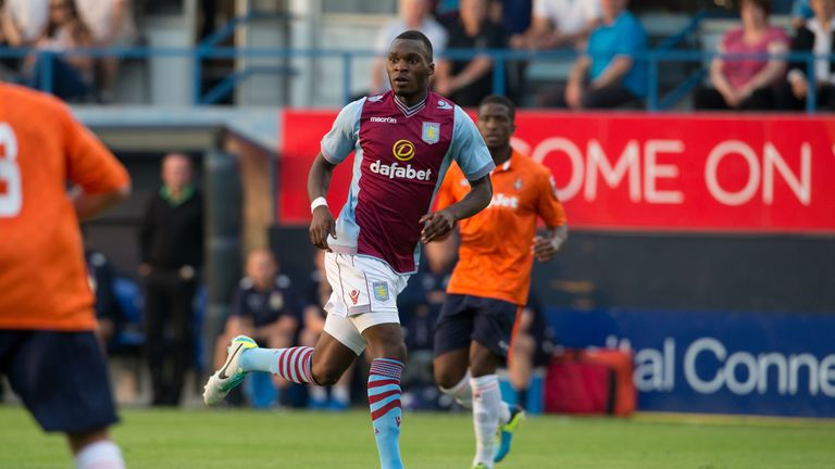 Christian Benteke: Aston Villa striker in action against Luton in pre-season friendly defeat
