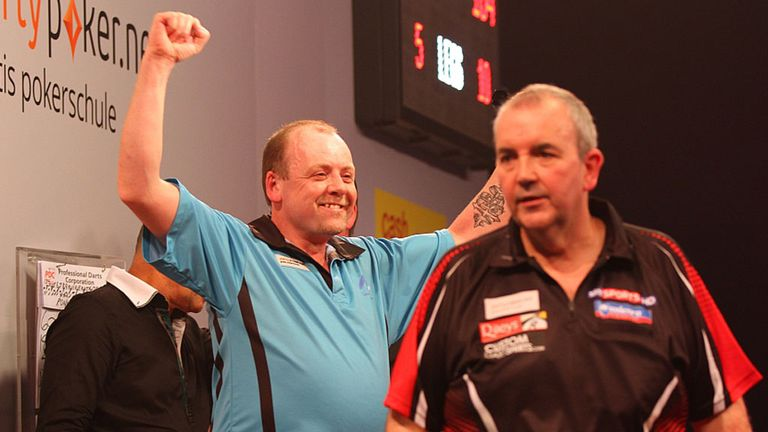 Ronny Huybrechts: Belgian celebrates his win over Phil Taylor