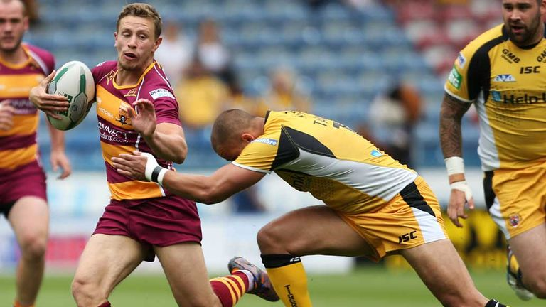 Shaun Lunt: Tackled by Jordan Tansey as Huddersfield beat Castleford