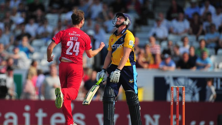Lancashire bowler Tom Smith takes the wicket of Yorkshire batsman Andrew Gale in Friends Life T20 at Headingley.