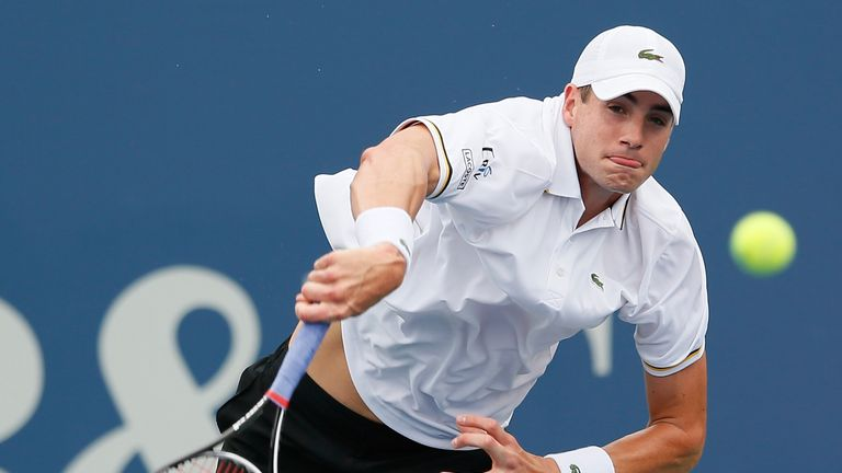 John Isner: Hammered down 21 aces in his semi-final victory over Lleyton Hewitt